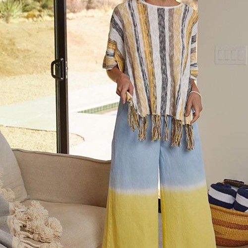 Are you digging this look? Well, so are we! Swipe ➡️ for a closer look of the styles. . The culottes pants are dip dyed in Lime/Blue with ties that wrap around the waist. .The Yellow multi striped sweater, which also comes in Blue multi has fringe detailed in the front and back. . All 3 items are made with 100% cotton😄  #fatebylfd #fate #chooseyourfate #tiedye #culottepants #sweaters #knitsweater #fringe #fringesweater #clothingbrand #clothingline #lookoftheday #outfitoftheday #ootd #ootdfashion #instafashionista #instafashion #trendy #easytowear #lovethislook #styled #styledshoot #fashionista #styleoftheday #chic-